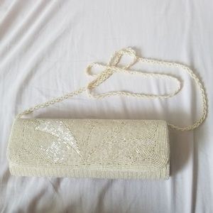 Cream Color Sequence Clutch Shoulder Bag